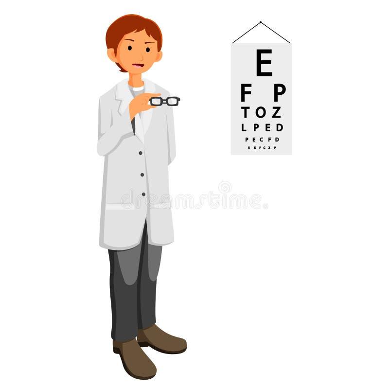 Docteur d'ophtalmologue donnant des verres illustration stock