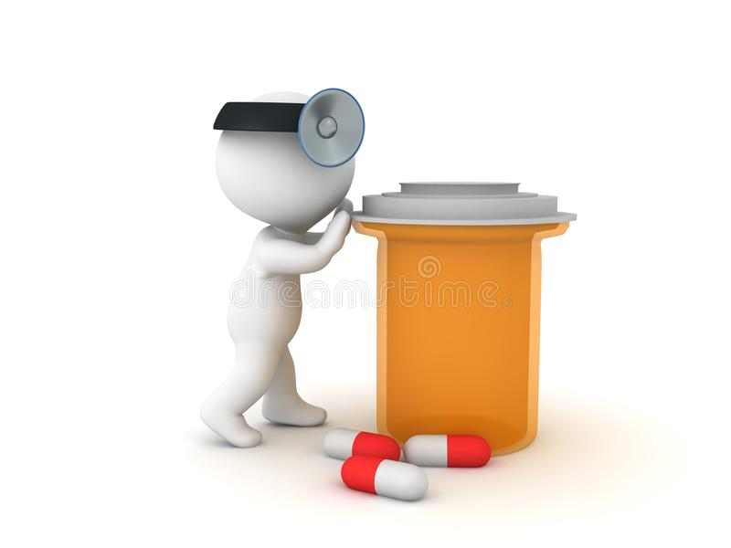 docteur 3D poussant la grande bouteille orange de drogue illustration de vecteur