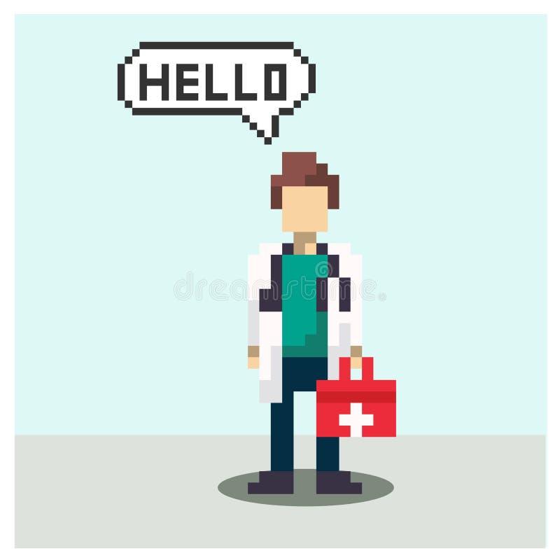Docteur dans l'art de pixel illustration stock