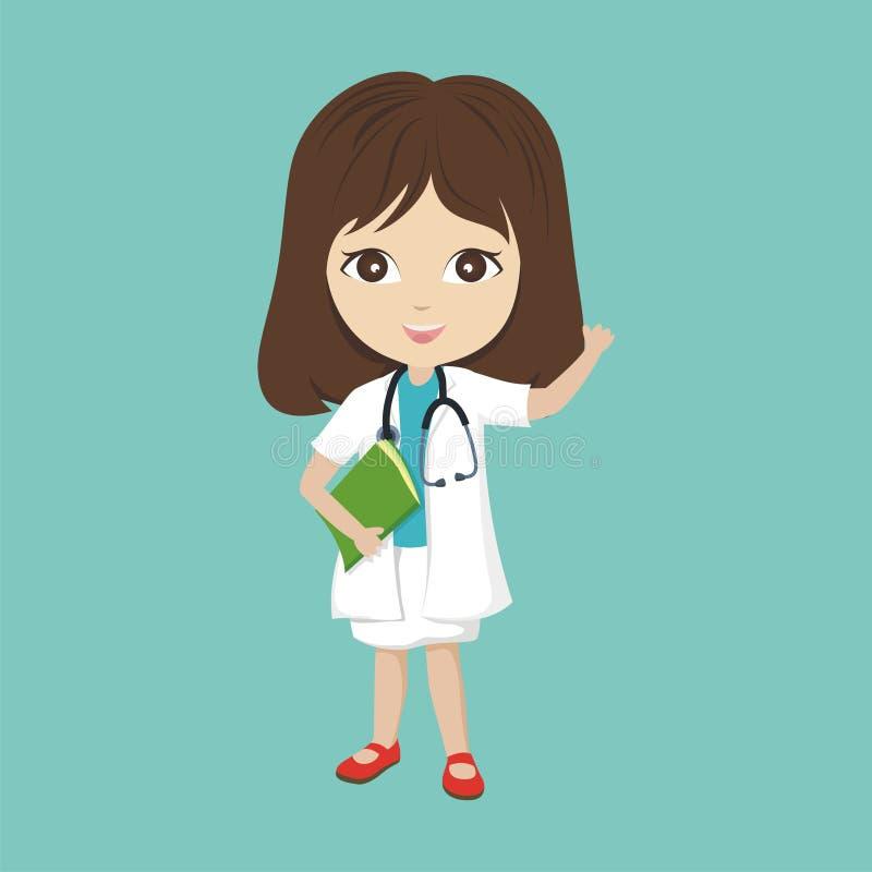 Docteur de bande dessinée avec le caractère de petite fille illustration de vecteur