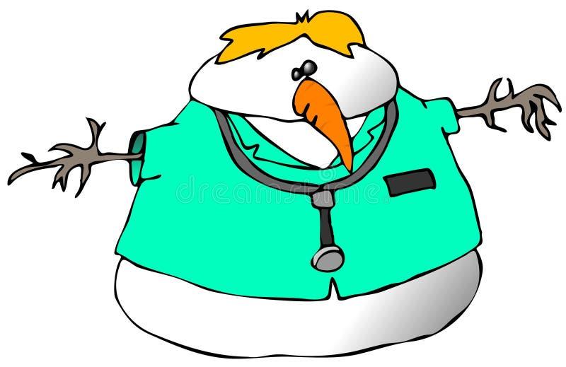 Docteur de bonhomme de neige illustration de vecteur