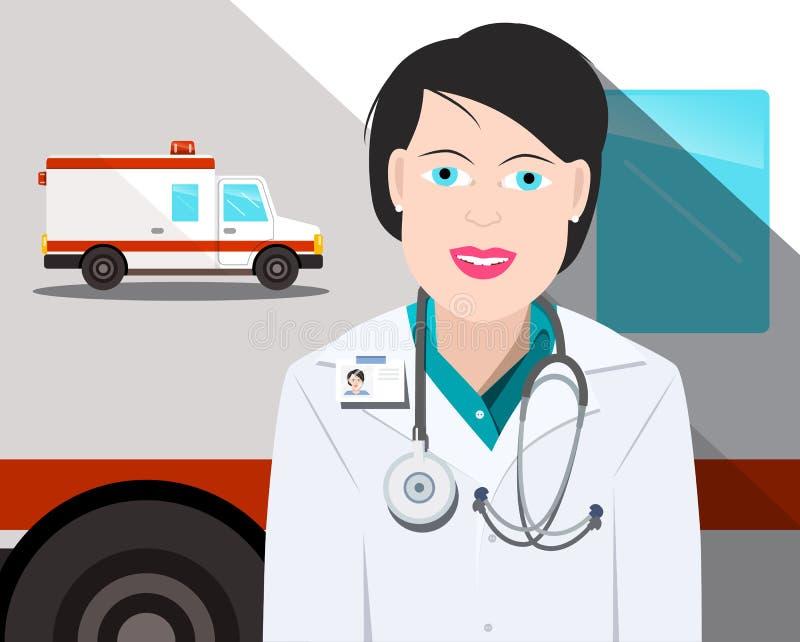 Docteur de femme avec la voiture d'ambulance sur le fond illustration de vecteur
