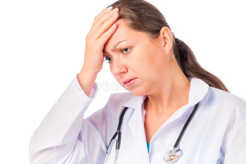 Docteur de femme avec un mal de tête photo stock