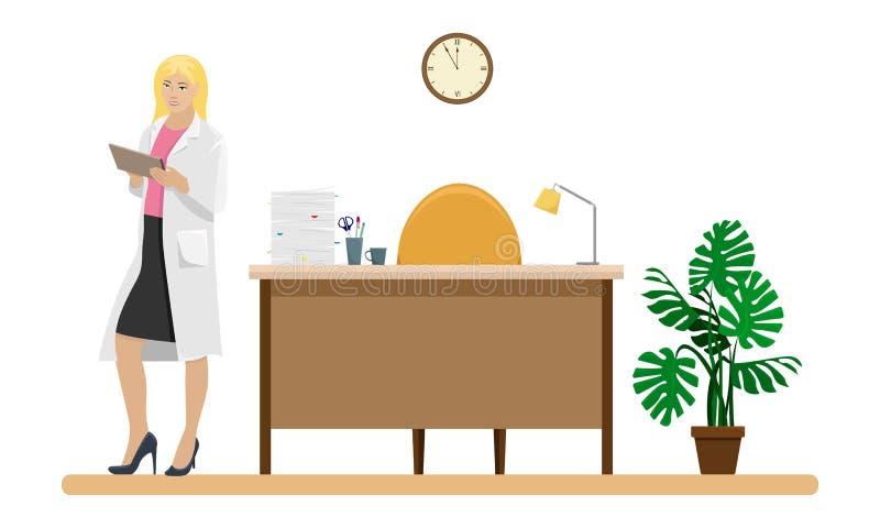 Docteur de femme dans un manteau blanc avec un dossier dans sa main illustration stock