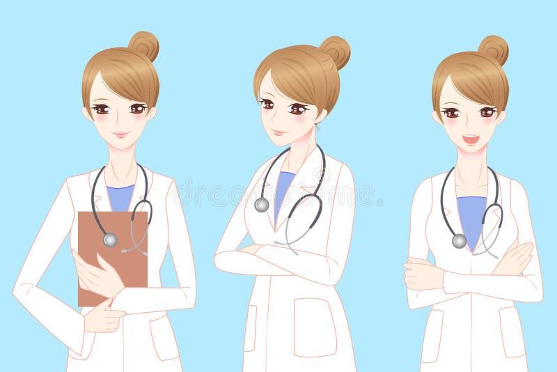 Docteur de femme de bande dessinée de beauté illustration stock