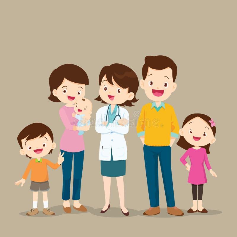 Docteur de femme et famille mignonne avec le bébé illustration stock