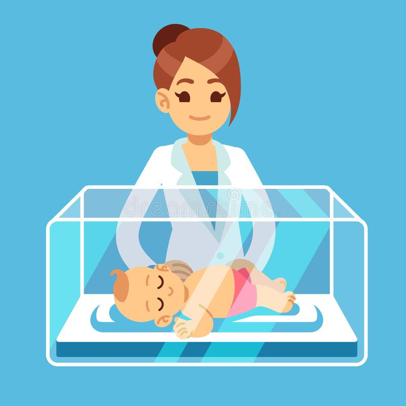Docteur de pédiatre et petit bébé nouveau-né à l'intérieur de boîte d'incubateur dans l'hôpital Néonatal, prématurité, garde d'en illustration libre de droits