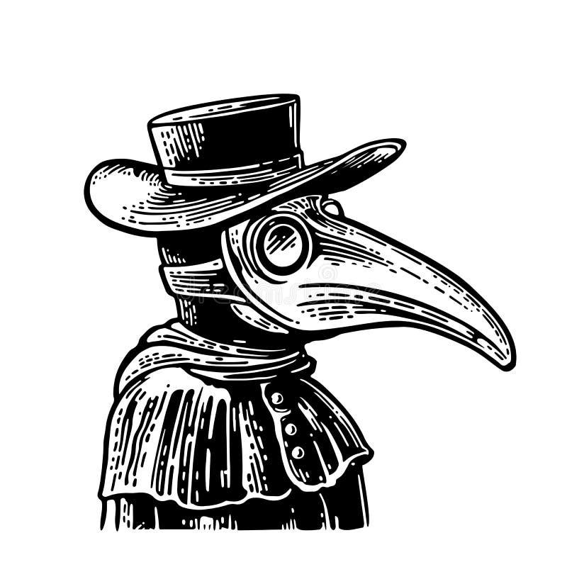 Docteur de peste avec le masque et le chapeau d'oiseau Gravure de vintage de vecteur illustration de vecteur