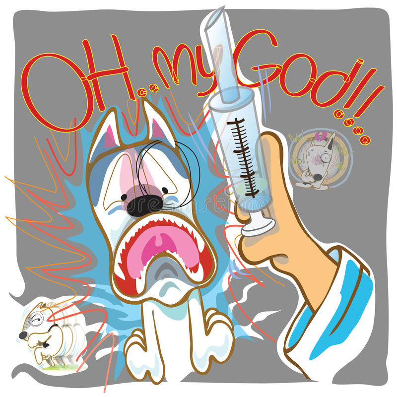 Docteur de seringue de crainte de chien illustration libre de droits
