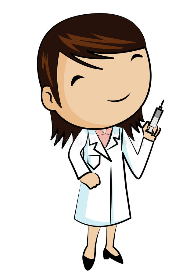 Docteur de sourire avec la seringue illustration de vecteur