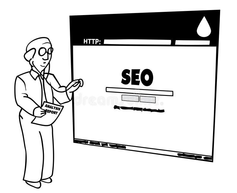 Docteur Diagnosing de SEO une illustration en difficulté de site Web illustration libre de droits