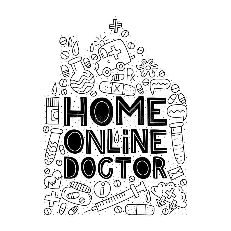 Docteur en ligne à la maison Inscription avec des griffonnages images libres de droits