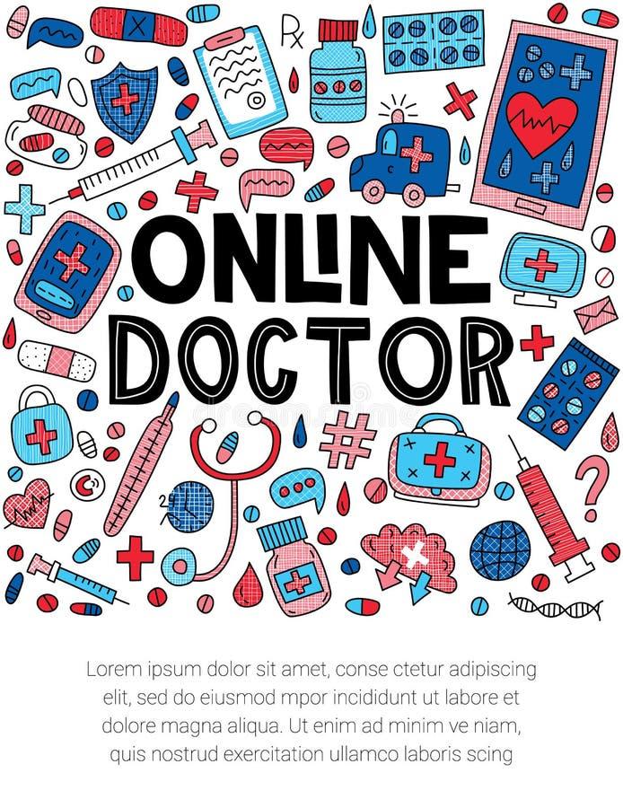 Docteur en ligne Illustration images stock