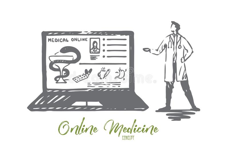 Docteur, en ligne, m?decine, ordinateur portable, concept de service Vecteur d'isolement tir? par la main illustration stock