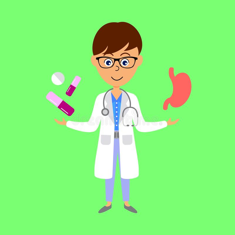 Docteur, estomac et médecine de bande dessinée Concept de soins de sant? illustration libre de droits