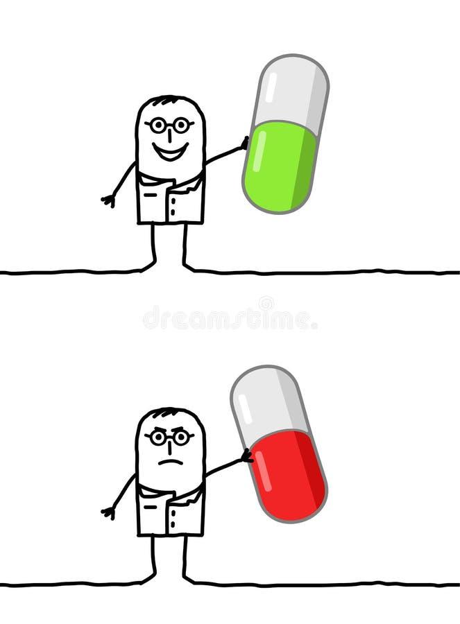 Docteur et bonne ou mauvaise médecine illustration de vecteur