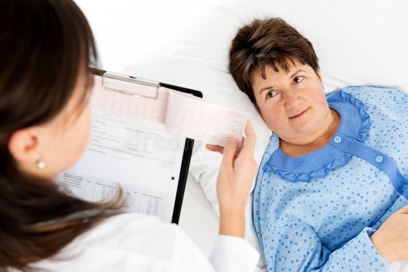 Docteur expliquant des résultats médicaux à la femme supérieure image stock