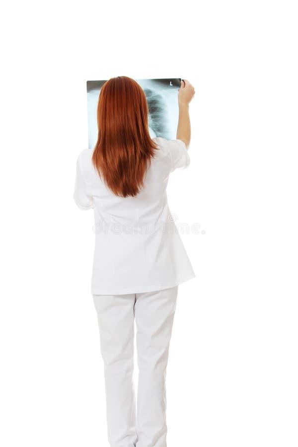 Docteur féminin assez caucasien regardant le rayon X. image libre de droits