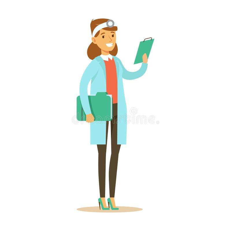 Docteur féminin With Cipboard Wearing médical frotte l'uniforme fonctionnant dans la pièce d'hôpital de série de soins de santé illustration stock