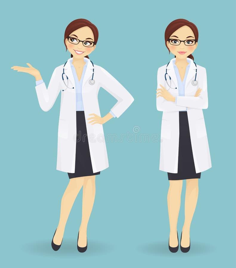 Docteur féminin dans différentes poses illustration de vecteur