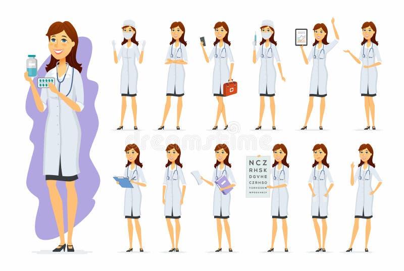 Docteur féminin - jeu de caractères de personnes de bande dessinée de vecteur illustration de vecteur