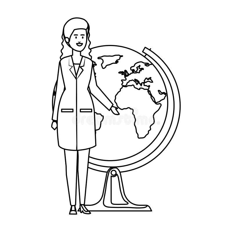 Docteur féminin professionnel avec la planète du monde illustration de vecteur