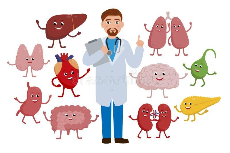 Docteur gai et personnages de dessin animé en bonne santé d'organes d'isolement sur le fond blanc Illustration de concept de visi illustration libre de droits