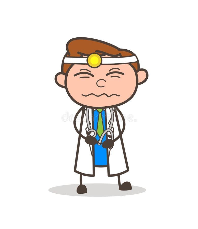 Docteur Having Pain de bande dessinée dans l'illustration de vecteur d'estomac illustration libre de droits