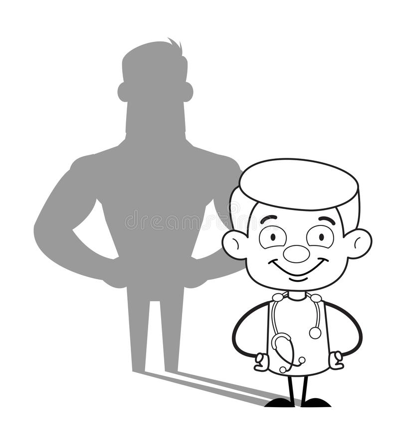 Docteur heureux Muscular Shadow Vector illustration de vecteur