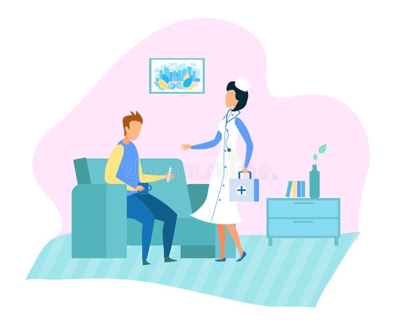 Docteur Home Visits et bande dessinée de services médicaux illustration libre de droits