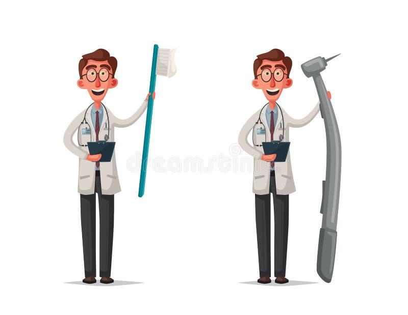 Docteur intelligent Conception de personnages drôle Illustration de vecteur de dessin animé illustration de vecteur