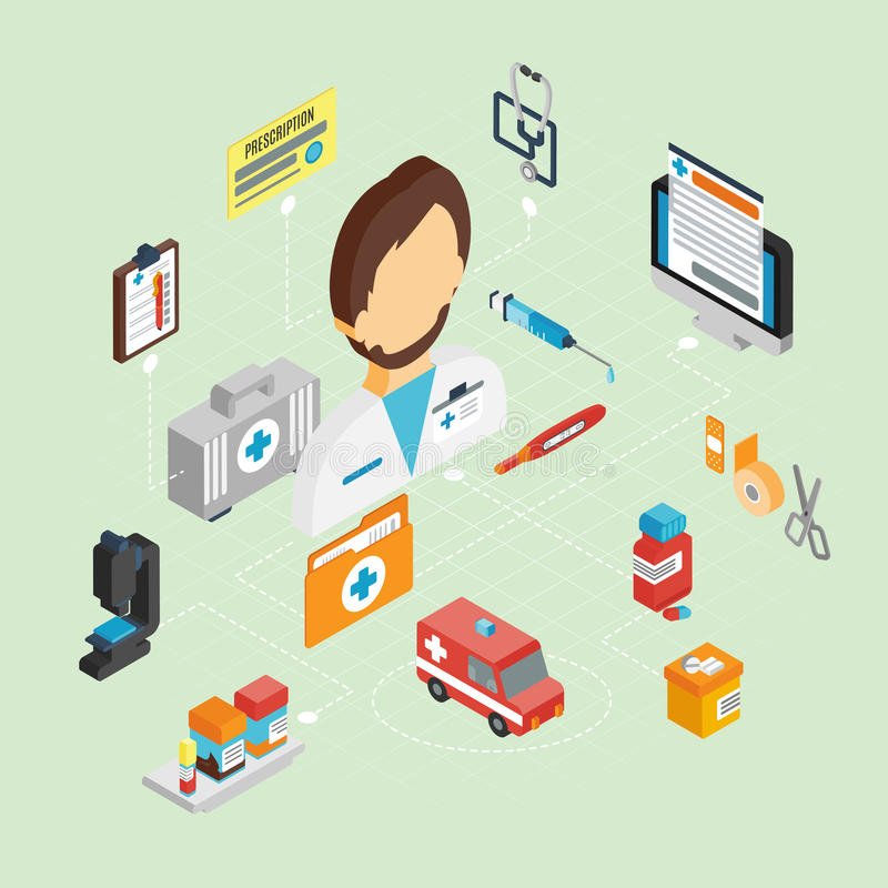 Docteur Isometric Set illustration stock