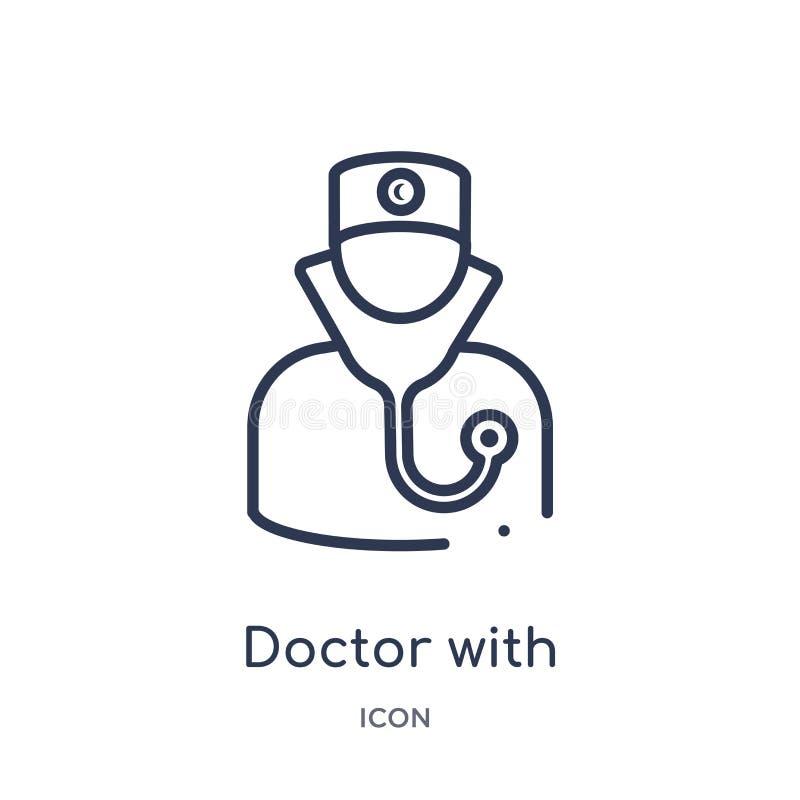 Docteur linéaire avec l'icône de stéthoscope de la collection médicale d'ensemble Ligne mince docteur avec l'icône de stéthoscope illustration stock