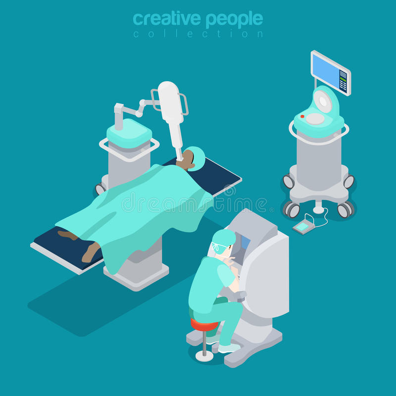 Docteur médical isométrique Flat 3d d'ordinateur d'hôpital illustration de vecteur