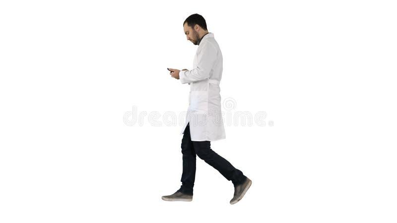 Docteur masculin marchant et à l'aide du téléphone portable sur le fond blanc images stock