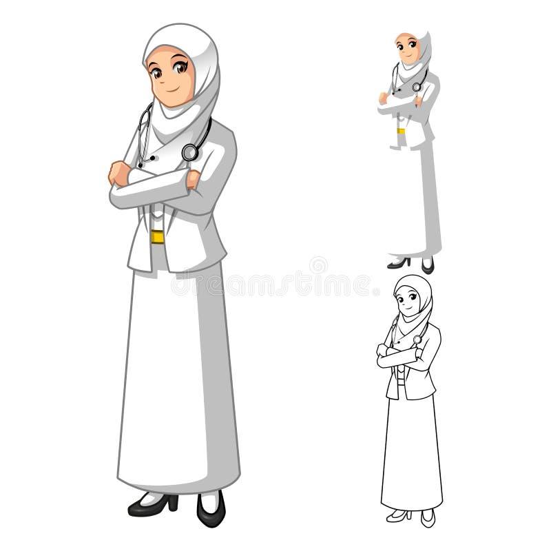 Docteur musulman Wearing White Veil ou écharpe de femme avec les mains pliées illustration libre de droits