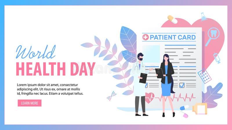 Docteur patient féminin d'homme de carte de jour de santé du monde illustration libre de droits