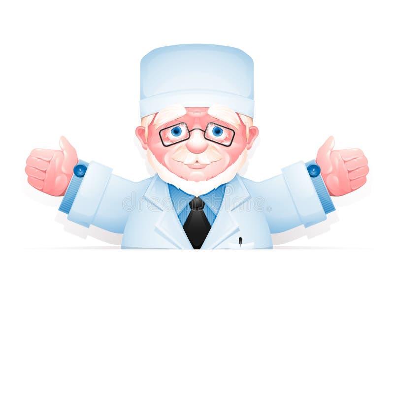 Docteur plus âgé amical avec des bras grands ouverts illustration stock