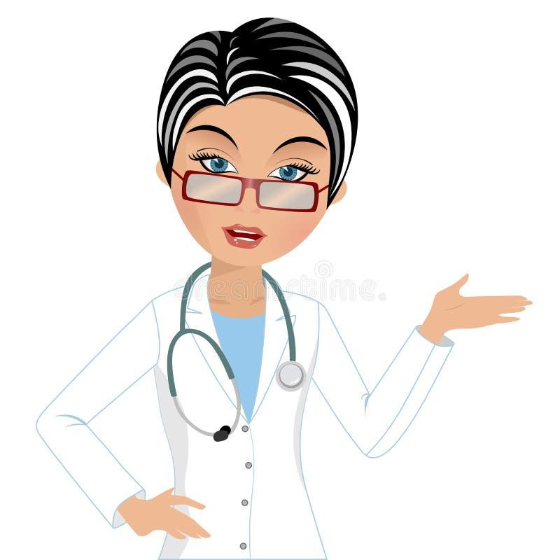 Docteur Presenting de femme illustration de vecteur