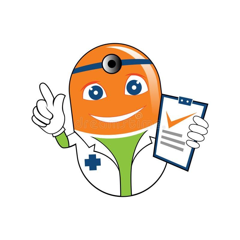 Docteur Recipe Cartoon Illustration de médecine de Tablette de pilule illustration de vecteur