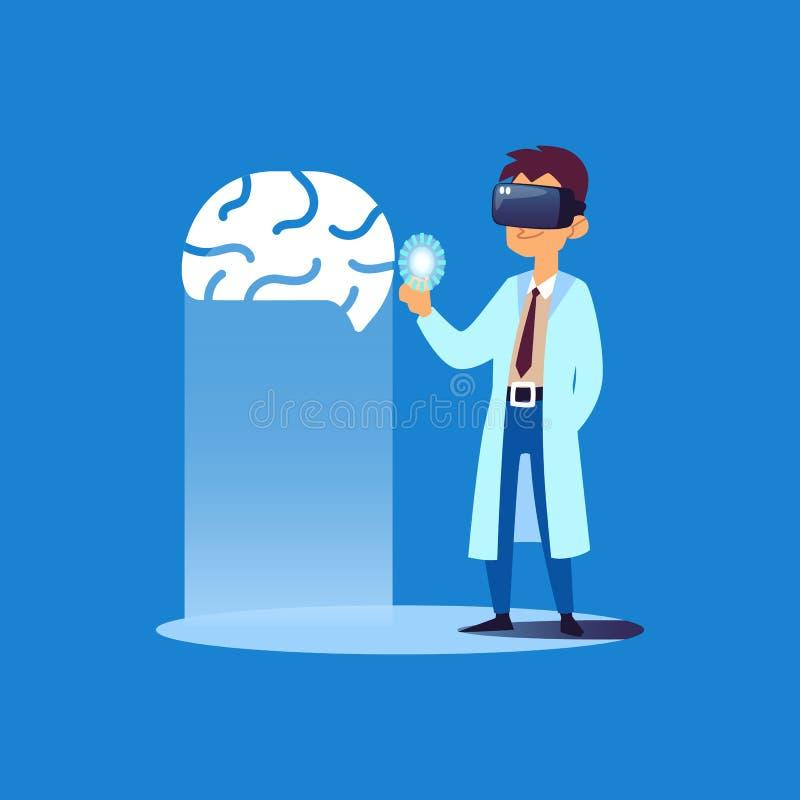 Docteur regardant le modèle de l'esprit humain 3D utilisant des verres de réalité virtuelle illustration libre de droits
