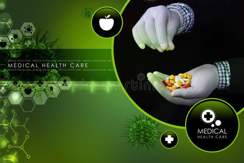 Docteur se tenant dans des pilules de mains illustration de vecteur