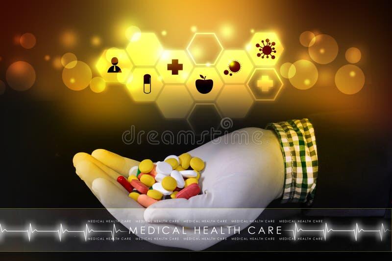Docteur se tenant dans des pilules de mains illustration stock