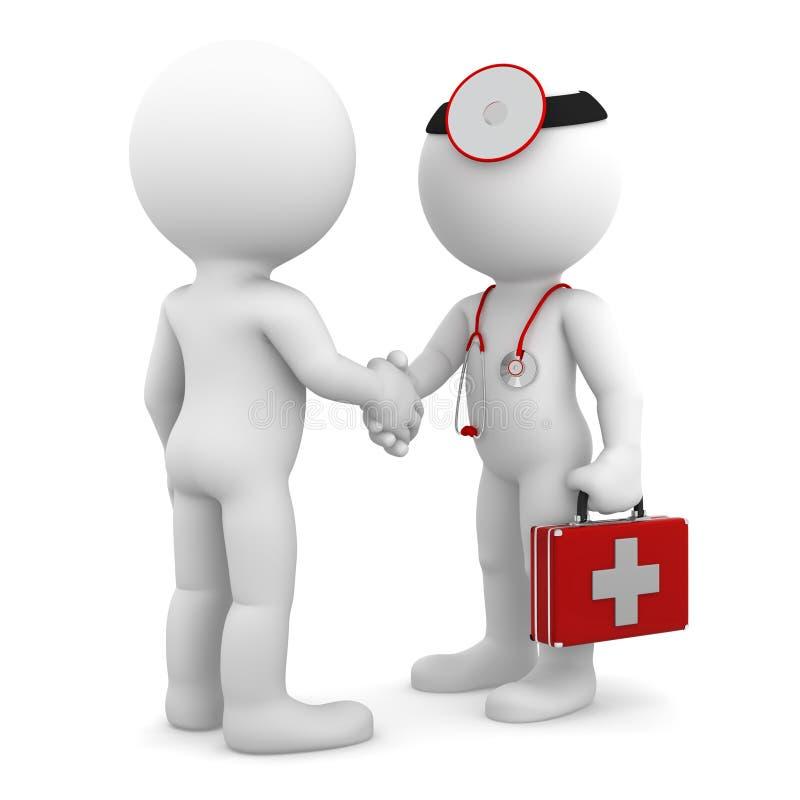 Docteur serrant la main avec le patient illustration de vecteur
