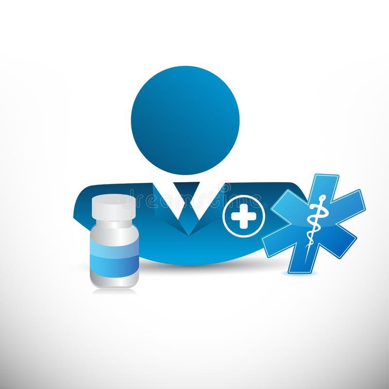 docteur, signes médicaux et pilules de prescription illustration de vecteur