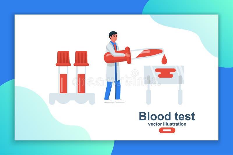 Docteur tenant le sang disponible d'essai sur la plaque en verre illustration libre de droits