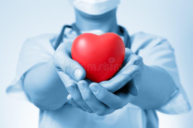 Docteur tenant un coeur photos libres de droits