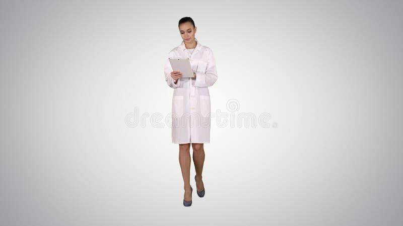 Docteur utilisant le comprimé tout en marchant sur le fond de gradient photographie stock libre de droits