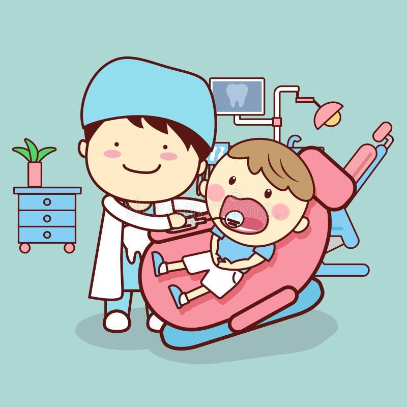 Docteur vérifiant la dent d'enfant illustration stock