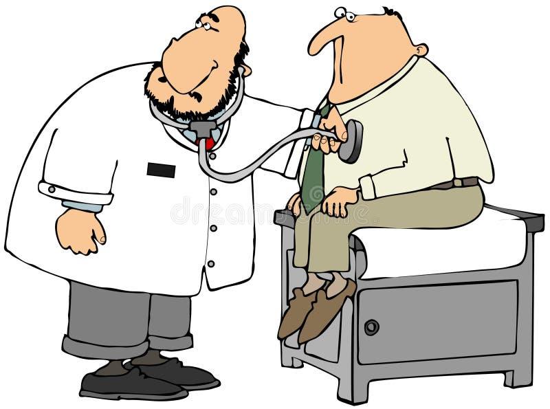 Docteur vérifiant le coeur du patient illustration de vecteur